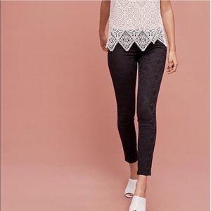 Anthro Pilcro Black Jacquard Serif Skinny Pants